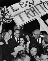LBJ and Lady Bird make their way through the Mink Coat Mob's riot, Dallas 1960