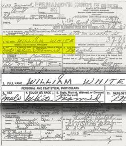 White's death certificate